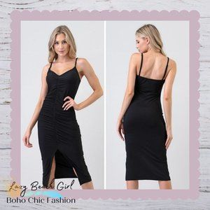 Front Ruching & Slit Cami Midi Dress